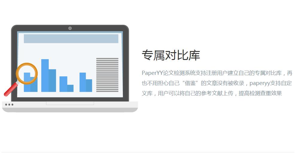 "PaperYY论文检测系统支持注册用户建立自己的专属对比库,再也不用担心自己""借鉴""的文章没有被收录,paperyy支持自定义库,用户可以将自己的参考文献上传,提高检测查重效果"