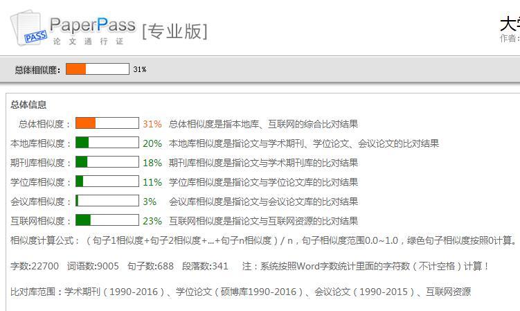 >PaperPass检测报告相似度